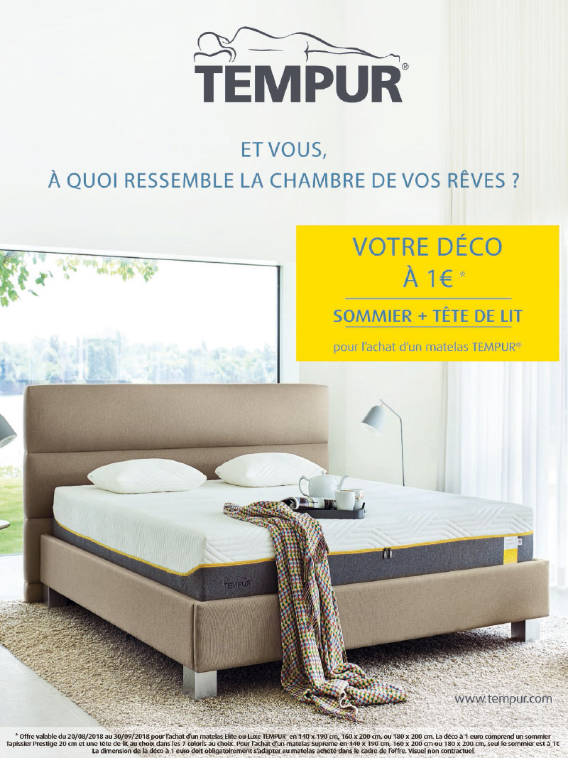 promotion literie tempur. Black Bedroom Furniture Sets. Home Design Ideas